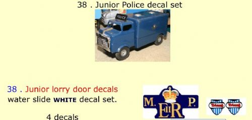 38 . Tri-ang Junior Police decal set